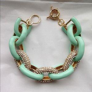 Jewelry - Mint/Pave Link Bracelet