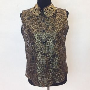 Miss Finch Tops - Sleeveless Gold Embroidered Floral Blouse