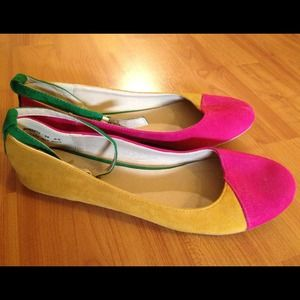 New multi-color flats with ankle strap.