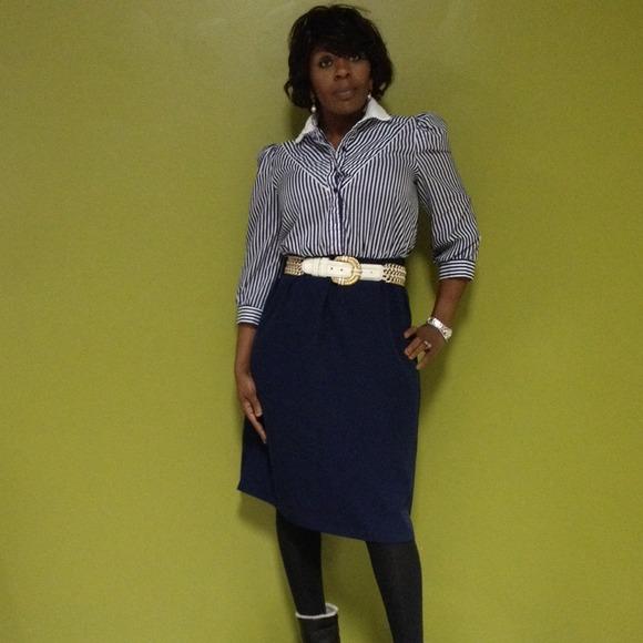 Vintage Secretary Plus Size Pinstripe Dress