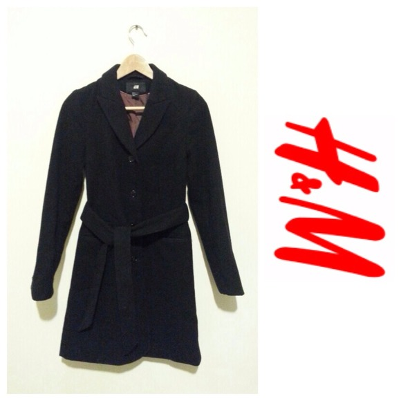 H&ampM - H&ampM) Black Long Coat with Belt from D&39s closet on Poshmark