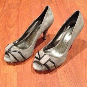 DKNY grey suede heels