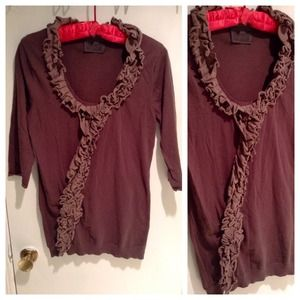 Anthropologie Tops - Brown Ruffled Sweater Top