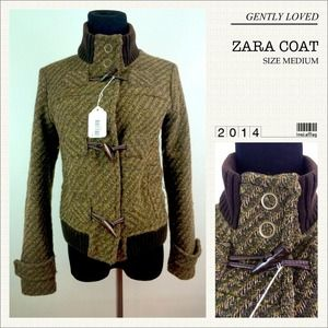 Zara Green/Brown High Collar Tweed Coat