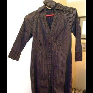 Express fitted button front pinstripe dress & belt