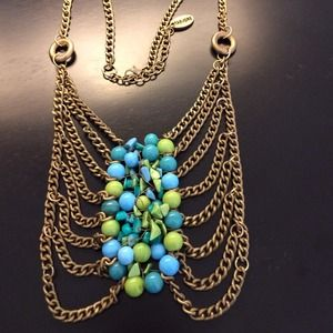 Unique Blue and Green Statement Necklace