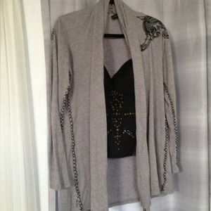 Oversized grey with black embroidering cardigan