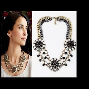 SUPER SALE Double tone metal crystal necklace
