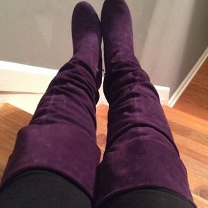 "Purple suede over the knee boots 4"" heels platform"