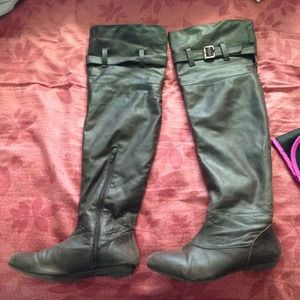 BUNDLED Dark brown thigh high pleather boots