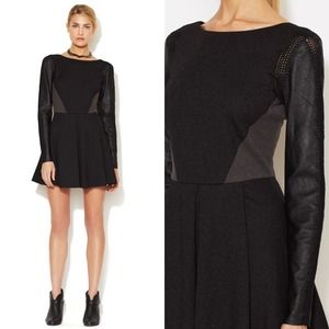 Stella & Jamie Leather Sleeve Dress