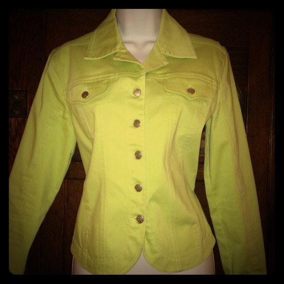 91% off Live a Little Jackets & Blazers - Lime green denim jacket ...