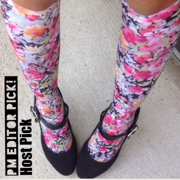 Outerwear - Knee High Silky Floral Socks