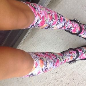 Jackets & Coats - Knee High Silky Floral Socks 2