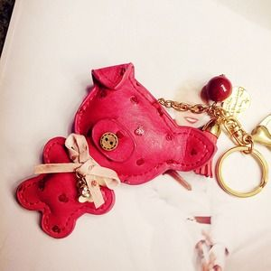 Cute Red Pig bag charm, genuine leather
