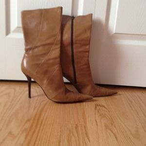 Aldo, tan pointy toe leather boots boots.