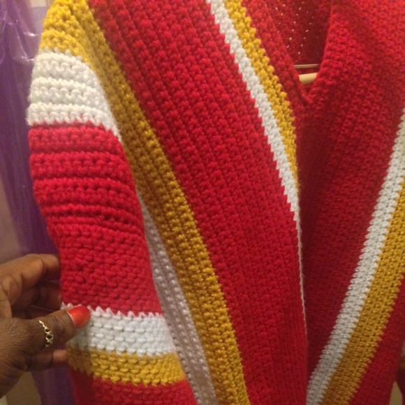 Crochet Pattern Kansas City Chiefs Afghan : 45% off crochet Sweaters - Kansas City Chiefs inspired ...