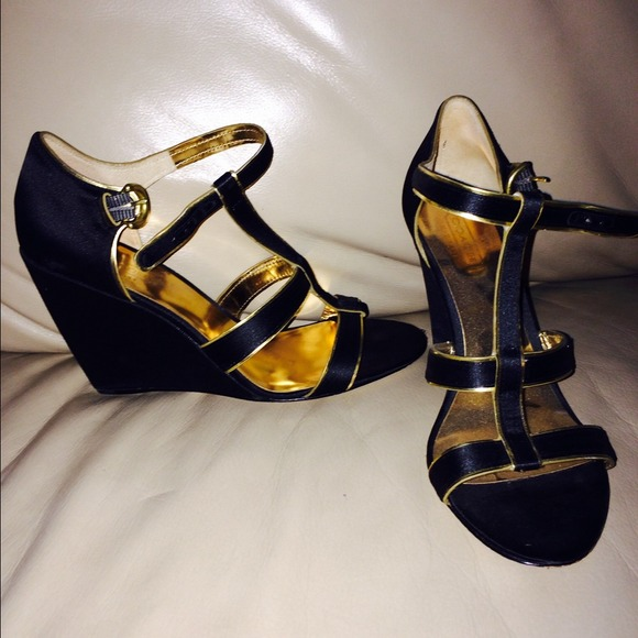82 coach shoes coach satin gold and black wedge