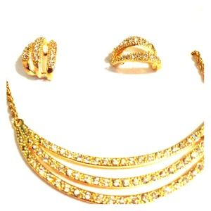 Gold  earrings with necklace and rhinestones