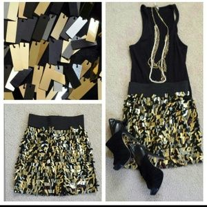 La rok gold sequins mini skirt