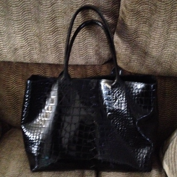 b0ce715b508 Falor Italian Le Borse Bags | Black Croc Embossed Tote Well Loved ...