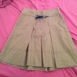 Zara Basic Pleated Brown Skirt