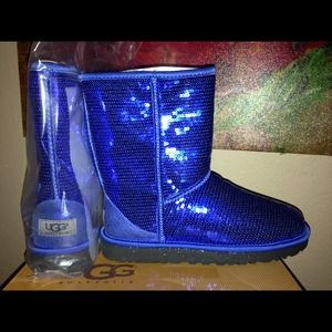 Ugg Shoes Classic Short Blue Sequin Boots Never Worn