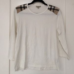 Burberry Tops - Burberry 3/4 sleeve t with check shoulders