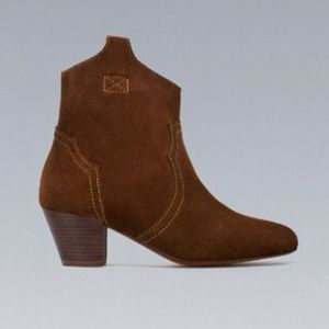 Zara brown suede booties