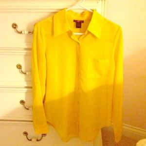 Sheer vibrant yellow button up top