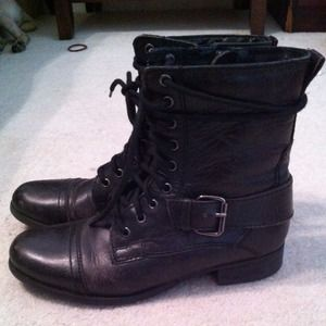 Nine West Leather Lace up Combat Boots