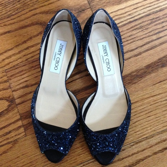Jimmy Choo Shoes - Jimmy Choo navy glitter open toe kitten heels