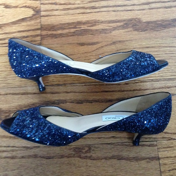 Jimmy Choo Shoes - Jimmy Choo navy glitter open toe kitten heels 2