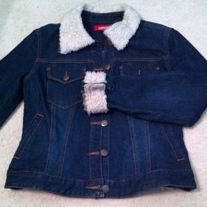 Denim Jacket with fur trim collar/sleeves