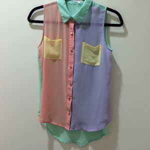 Yellow, purple, pink, and green chiffon top