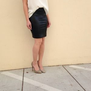 Liquid Black Pencil Skirt