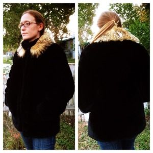 Vintage Faux Fur Coat with Genuine Fur Collar