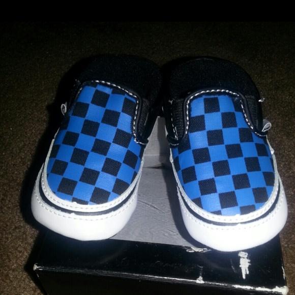 blue black checkered vans