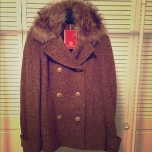 Cole Haan wool and tweed coat with fur trim
