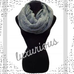 Accessories - Grey Chunky Thick Knit Cable Knit Infinity Scarf