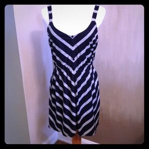 Navy blue and grey stripe dress with pockets