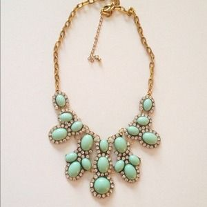 Mint Rhinestone Statement Necklace