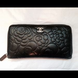 Chanel Lambskin Leather Camellia Embossed Wallet