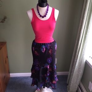 Black with color floral Express skirt