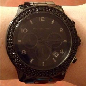 Michael Kors Black Ceramic Crystal Glitz Watch