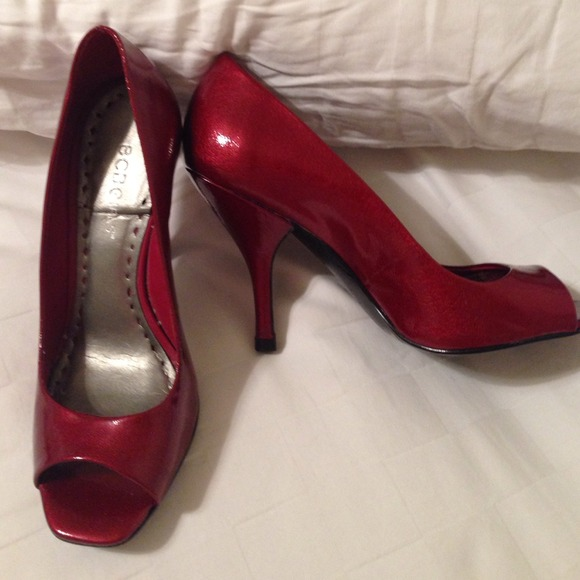 69% off BCBG Shoes - 🎉REDUCED🎉BCBGirls deep red peep toe 3 inch ...