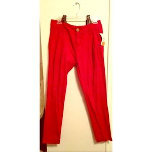 Red Zara Pants w/ Brown Suspenders