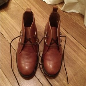  Topshop brown leather ankle boots / booties