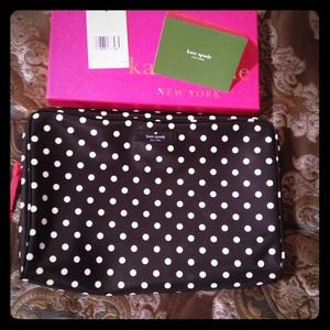 Kate spade NWT polka dot large cosmetics bag