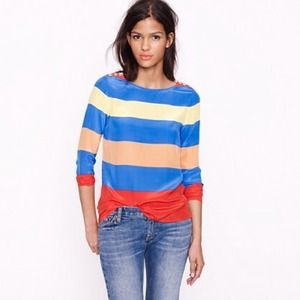 NWOT J. Crew Scoopneck Blouse in Colorblock Stripe
